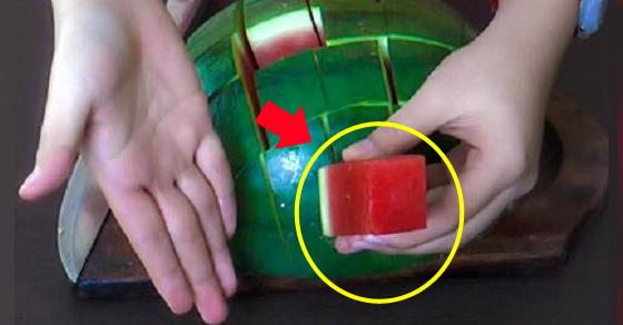 semangka,cara memotong