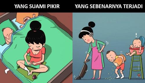 ibu rumah tangga, ilustrasi, ekspektasi, realita