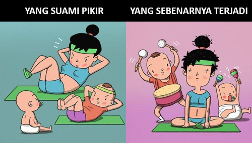 ibu rumah tangga, ilustrasi, ekspektasi, realita,menjaga anak