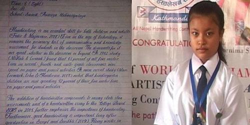 Praktiri Malla, punya tulisan tangan tercantik di dunia