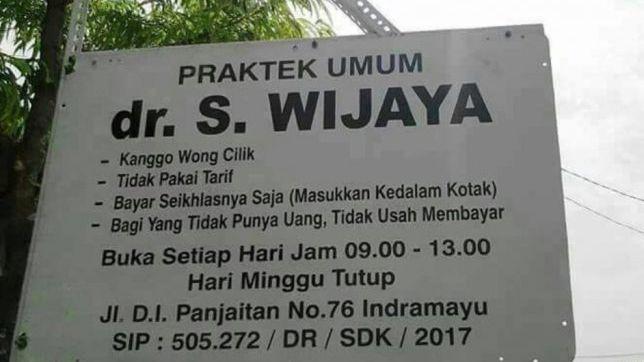 Plang Praktek Umum dr S Wijaya viral di media sosial