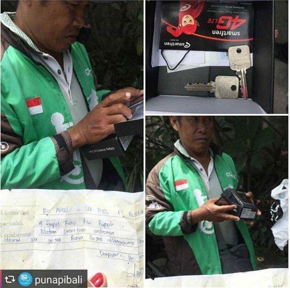 6. Driver yang kena orderan fiktif berupa pembelian modem seharga Rp 400.000. Isinya ternya kunci