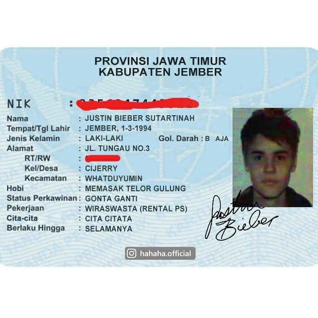 KTP Justin Biebier ala Indonesia, bagaimana jadinya?
