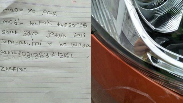 Tidak sengaja bikin mobil orang lecet, bocah bernama Zhafran minta maaf