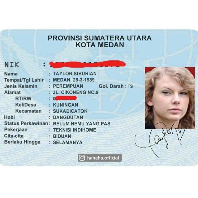 Editan KTP Taylor Swift wajib dicoret RT/ RW nya