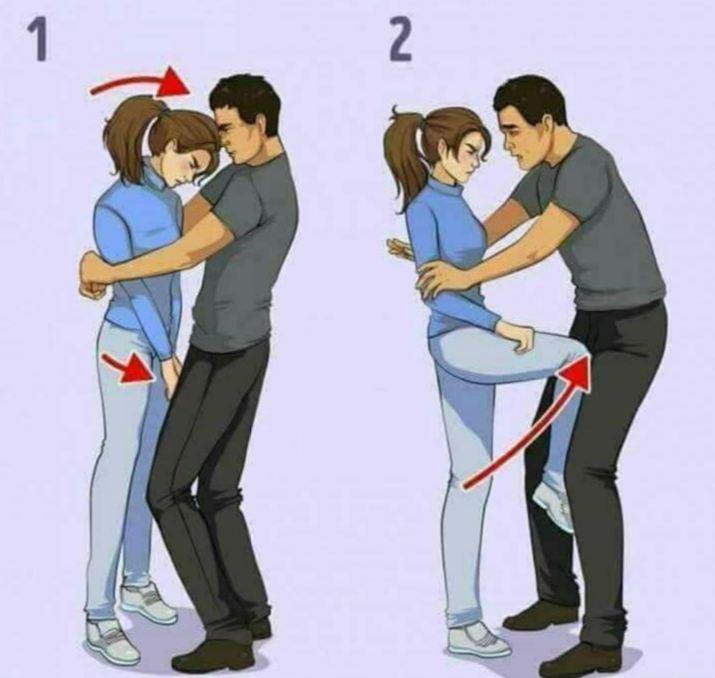 1. Yang perlu kamu lakukan saat pelaku berusaha memeluk tubuhmu
