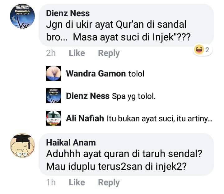 Netizen ramai- ramai hujat pemilik sandal bertuliskan huruf Arab