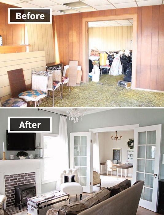 1. Awalnya ruangan keluarga ini sangat berantakan dan terlihat seperti gudang