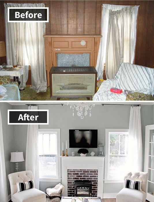 2. Untuk terlihat lebih modern, kayu- kayu di ruangan ini dilepas dan dinding dicat warna abu- abu.