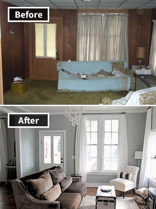 7. Nuansa kayu diganti dengan nuansa cat tembok berwarna biru dan ditambah dengan perabot agak mewah