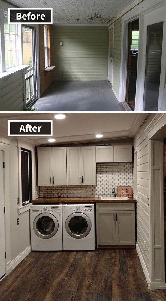 9. Yang ini keren abiss! Dari ruangan terabaikan di belakang rumah, kini bertransformasi menjadi ruang laundry super cantik