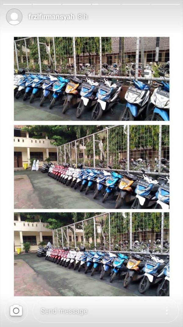 Peraturannya, setiap motor siswa yang parkir tidak boleh dikunci stang