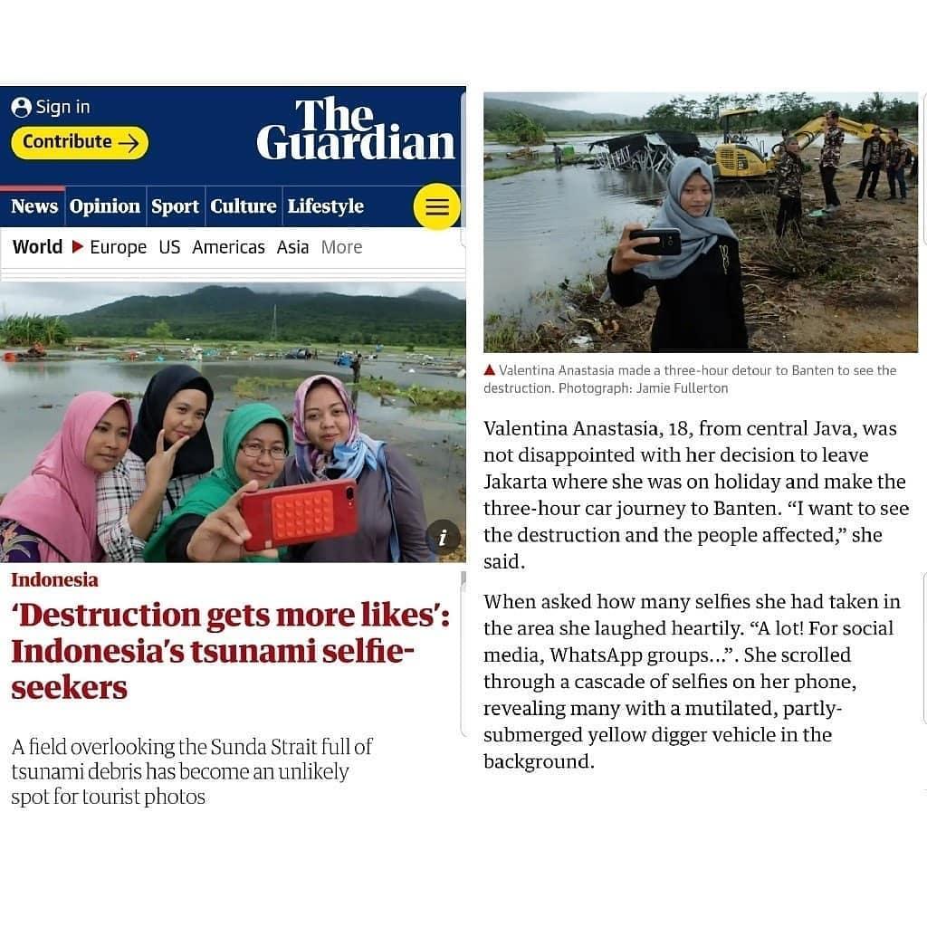 Selfie di tengah korban tsunami menjadi headline di media luar