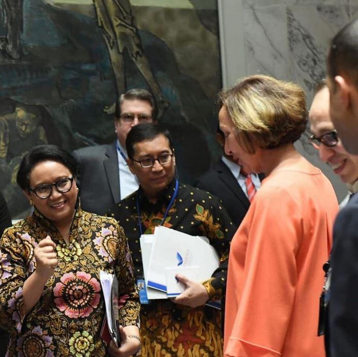 Menlu Retno dalam sidang DK PBB